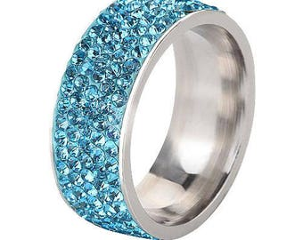 Blue Crystal CZ Band Ring
