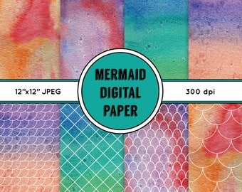 Mermaid Digital Paper, Mermaid Scales, Watercolour, Seamless Patterns, 300 dpi, 12x12, JPEG