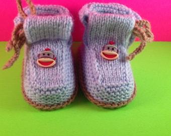 Sock Monkey baby booties, knit baby boots, knit baby booties,baby knit sandals, baby in hospital, sick baby,kid in hospital,newborn, premie