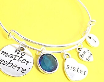 No Matter Where Bracelet, Custom Friendship Bracelet, Personalized Jewelry, Birthstone Bangle, Quote Bracelet, Long Distance Friend,BFF Gift