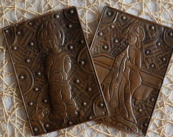 Bathroom and Toilet Signs, vintage Soviet stamping art decor, used metal embossing toilet door sign, USSR chased plaque, copper toilet plate