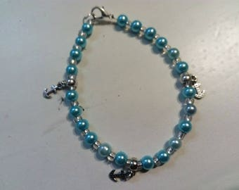 Turquoise blue pearl bracelet and anchor