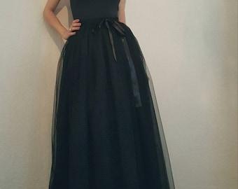 Tulle petticoat Black long 107 cm skirt