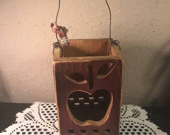 Country Farmhouse Primitive Wooden Folk Art Apple Candle Box Candle Holder