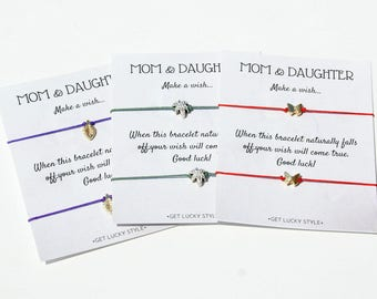 Mom and Daughter Wish Bracelet-Mother and Daughter-Mom Daughter-Wish Bracelet-Mother's Day gift-Gift from Daughter-Gift for Mom-Red string
