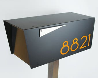 The Black Minimalist - Modern mailbox - stainless steel design large size - post mounted - locking - metal - post mount