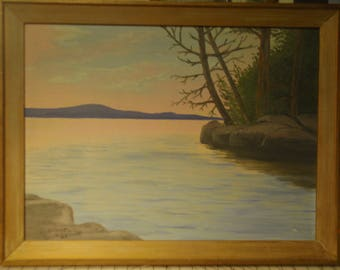 Vintage / antique landscape painting of lake with rock shore and trees