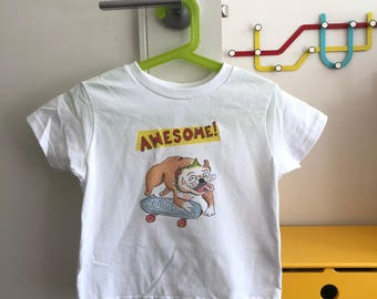 Kids Awesome Skateboard Bulldog T-Shirt!   Adorable kids clothing sizes Toddler - Youth