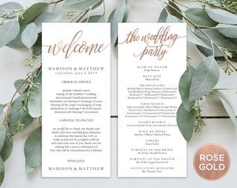 "Wedding Program Editable Template   Program Printable, Ceremony Printable ,Rose Gold Rustic Calligraphy Hand Lettered  4x9""   EDN 5183 RoseG"