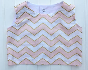 Chevron Crop Top - girls top, cotton top, crop top, blush top, toddler top,