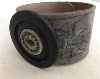 Vintage Button Leather Cuff Bracelet, hand painted cuff
