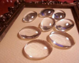 Clear Glass Flat Back Oval Cabochons-18x13mm-Bezel Glass-8pc