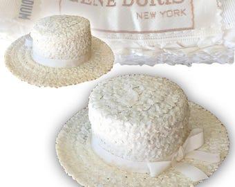 Vintage 1950s Gene Doris White Straw Boater Hat