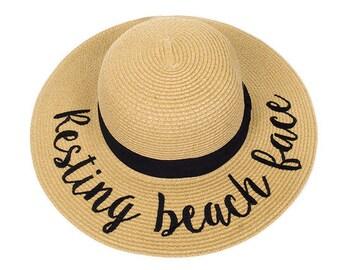 Resting Beach Face Sun Hat, Just Married Sun Hat, Do Not Disturb Sun Hat, Bon Voyage Sun Hat, Hello Sunshine Sun Hat,Always On Vacay Sun Hat