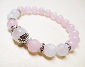 Rose Quartz Bracelet Fertility Bracelet Rainbow Moonstone Bracelet Heart Chakra Bracelet Healing Bracelet Romantic Jewelry Balance Bracelet