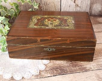 Vintage Wooden Jewellery Box, Wooden Box, Jewellery Box, Edwardian Jewellery Box, Gift for Her