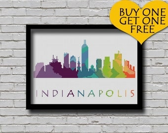 Cross Stitch Pattern Indianapolis Indiana Silhouette Watercolor Effect Decor Embroidery Modern Ornament Usa City Skyline Xstitch