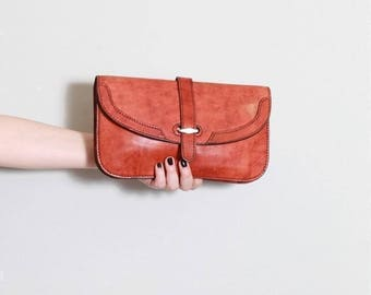 Vintage 1970's Red/Brown Leather Clutch