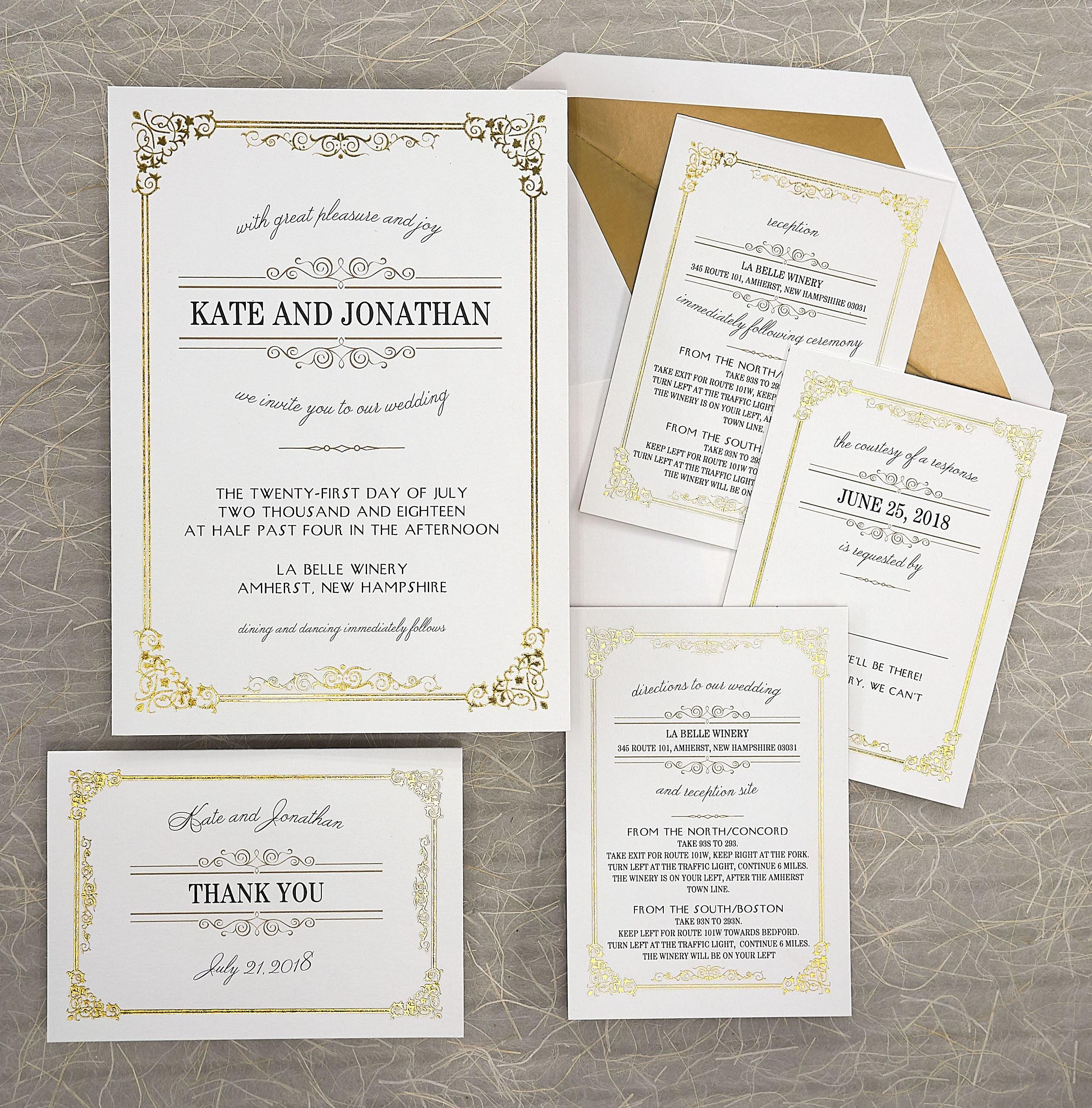 Skyla Foil Frame Wedding Invitation Set - Digital Invitation Suite ...