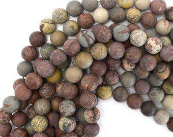 """12mm matte chohua jasper round beads 15"""" strand artistic jasper 39240"""