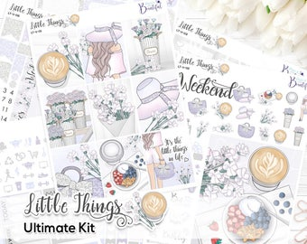 Little Things - Ultimate Weekly Kit - Premium Matte Paper & Removable Vinyl - Stickers for Erin Condren Vertical Life Planner