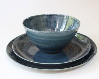 stoneware dinnerware stoneware dishes dark blue handmade stoneware pottery dish set ceramic dinner