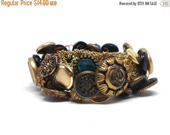 Gorgeous Vintage Button Bracelet Stretch Brass Bracelet