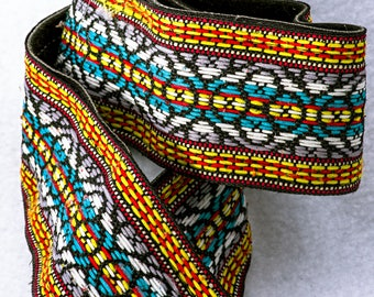 """Yellow, Blue, and Red Camera Strap, 42"""" Long, 2"""" Wide, Geometric Pattern, Canon, Nikon, Pentax, Sony, Olympus, or Any Other"""
