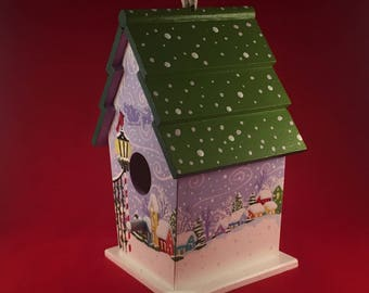 Birdhouse, Decorated birdhouse, Handpainted wood decor,Colourful birdhouse,Snow landscape painting,Winter decor,Christmas gift,Santa Claus