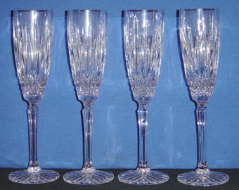4 Mikasa Old Dublin Fluted Crystal Champagne Glasses with Original Box (RA)