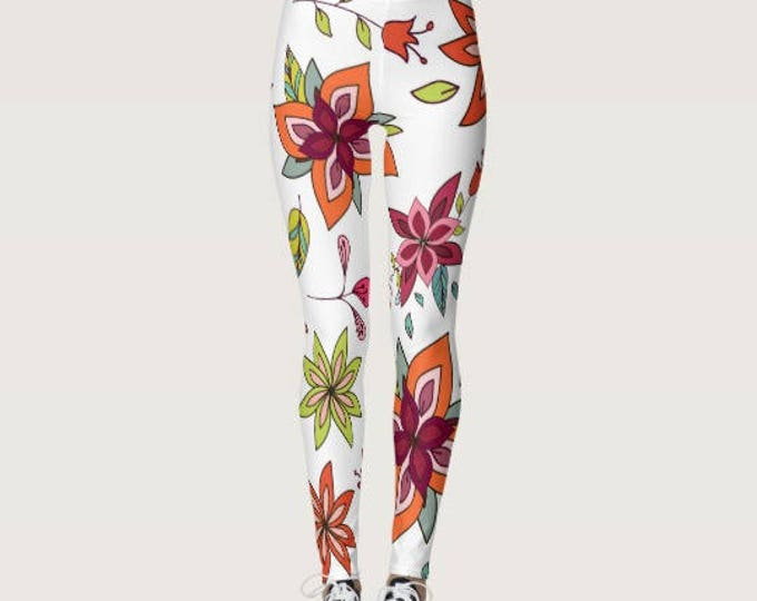 White Leggings with Boho Floral
