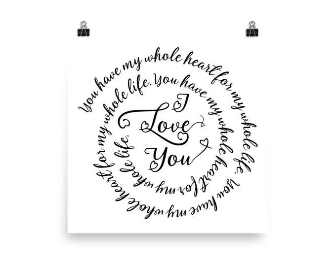 "Home Decor Wall Art Ready to Frame Poster ""I Love You"""