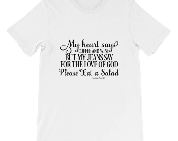 """Bella Canvas Short-Sleeve Unisex T-Shirt """"My Heart Says Coffee and Wine..."""""""