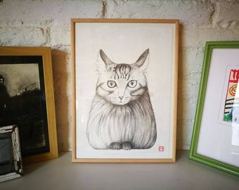 Cat. Nº 4. Original drawing. Pencil on paper. 29.5x21 centimeters. Gift, Christmas, petite illustration, cats, pets, animals.