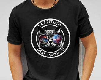Mens Designer Cattitude 'Deal With It' - Printed Cotton Black T-Shirt
