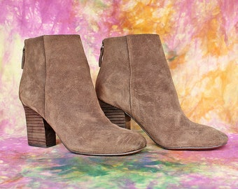 Suede High Heel Booties in Nubuck Brown