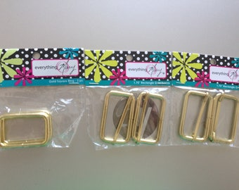 Gold Rectangle Buckles & Gold Sqare Ring