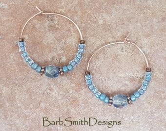 "Beaded Blue Copper Rose Gold Hoop Earrings, 1"" Diameter in Mystic Montana Blue"