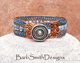 "Unique Blue Leather Bracelet-Beaded Cuff-Turquoise Silver Bracelet-Celtic Knot-Southwest Wrap-Size 7""-Custom Sizes-Knotty One Montana Teal"