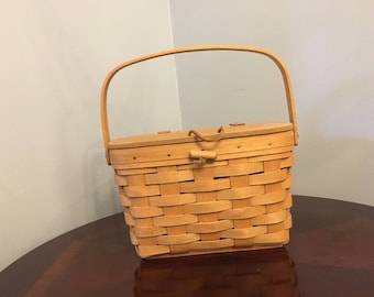 Longaberger Basket with wood lid and handle