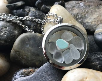 """Memory Locket """"My Little Island"""" Scottish Pottery and Genuine Sea Glass. Stainless Steel. Made in the UK. Free UK Delivery."""