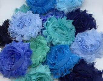 "Shabby Flowers Grab Bag, 2.5"" Flowers, baby headbands, craft supply, wedding accessory, fabric flower, chiffon"