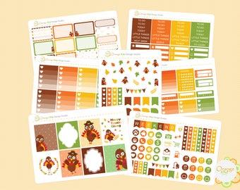 Thanksgiving Weekly Kit, Turkey Weekly Kit, November Weekly Kit, Thanksgiving Planner Stickers, Turkey Stickers, Erin Condren Life Planner