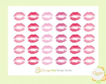 Assorted Lips Stickers, Lips Stickers, Kisses, Planner Stickers, Erin Condren Life Planner, Envelope Seals