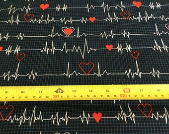 Wilmington Prints Nurses navy, heartbeat, medical, by the half yard
