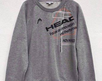 20% OFF Vintage Head 90's Big Logo Sweatshirt Pullover Jumper Hiphop Swag Spellout Jacket Streetwear sz M fit sz S