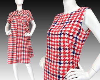 Vintage Clothing, 60s Mod Dress Suit M, Houndstooth Check, Red White Blue, Mod Ensemble, Dress + Jacket Coat, Wear To Work, SIZE S M 6 8