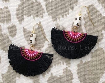 PINK and BLACK Fringe Earrings | tan, white, multicolored, statement earrings, lightweight