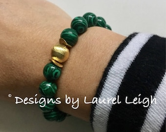 GREEN and BLACK Malachite Beaded Bracelet | gold, stretchy, emerald, Designs by, Laurel Leigh