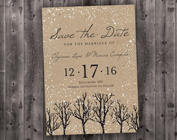 Winter Wedding Save the Date Printed, Snow, Woodsy, Rustic, Tree, Cheap, Woods, Affordable, Kraft, December, January, Christmas